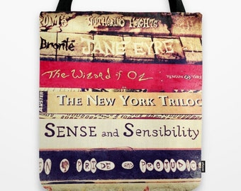 Classic Books Bag: Tote bag, library, Jane Austen, Bronte, Jane Eyre, Pride and Prejudice, Sense and Sensibility, Wuthering Heights
