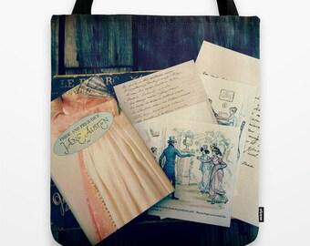 Jane Austen Tote Bag: Photography, book bag, library bag, teacher, librarian, Pride and Prejudice, pink