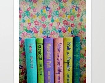 Jane Austen Library Fine Art Photograph: wall art, wall decor, pastel
