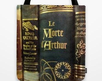 Adventure Library Tote Bag: book bag, library bag, King Arthur, Sleepy Hollow, dark, blue, medieval
