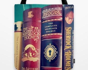 Sherlock Library Tote Bag: Books, mystery, detective, brown, Sir Arthur Conan Doyle