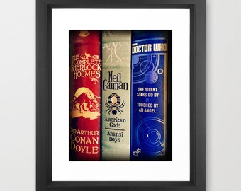 Library of Sherlock, Neil Gaiman and Dr. Who fine art photograph: Wall Art, wall decor, books, science-fiction, fantasy, mystery