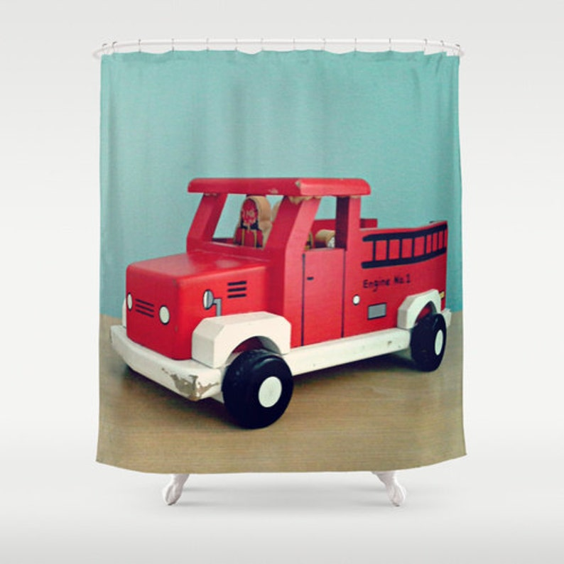 Fire Truck Shower Curtain Home Decor Boys