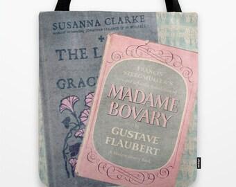 Pink and Gray Books Tote Bag - Book Bag, Library Bag, Pink, Gray, Madame Bovary,