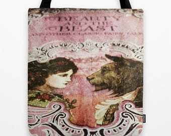 Beauty and the Beast Tote Bag: pink, book, library, fairy tales