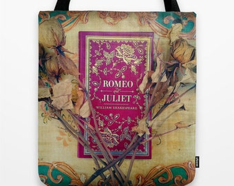 Romeo and Juliet Tote Bag - Shakespeare, librarian, teacher, book bag, library bag, red, blue