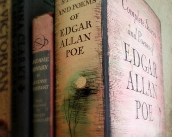 Pink Poe Fine Art Photograph: home decor, wall decor, vintage books, color, pink, gray, gothic