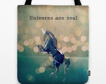 Unicorns are Real Bag: Tote bag, library bag, book bag, fantasy, blue, unicorn, fabric bag,
