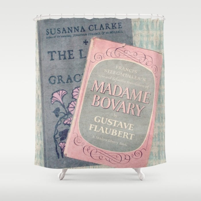 Pink And Gray Books Shower Curtain Home Decor Bathroom