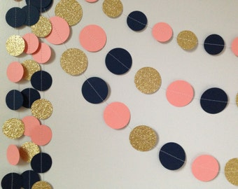 Gold glitter, coral/peach, navy blue circle paper garland, baby shower bridal shower birthday party wedding