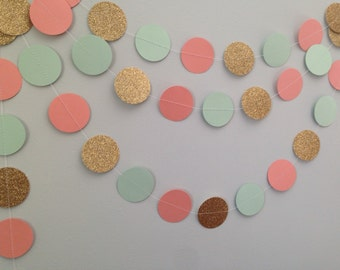 Gold glitter, green mint, & coral/peach circle paper garland, baby shower bridal shower birthday party wedding