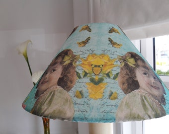 vintage style butterfly script flowers young girl blue coolie lampshade decoupage smiling