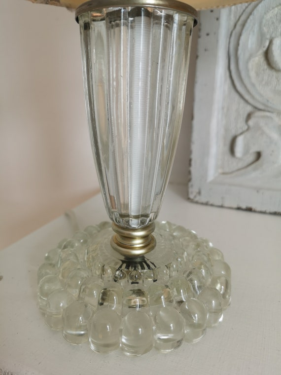gardenia decoupage vintage lampshade with glass lamp base 1950\u0027s
