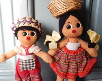 Cute Pair of Vintage South American Dolls!