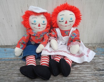 Adorable Vintage Raggedy Ann and Andy Pair!