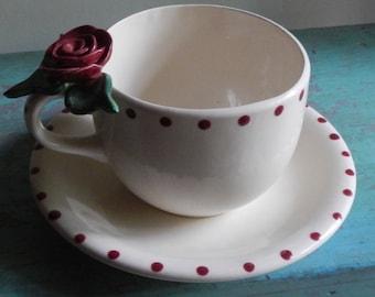 Handmade Oversized Ceramic Teacup Planter!