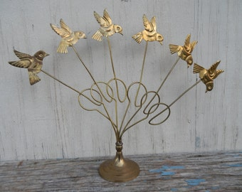 Charming Brass Bird Photo holder!