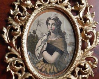 Gorgeous Antique Victorian Print in Metal Wilton Frame!