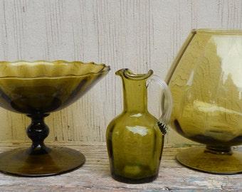 Hand Blown Vintage Green Glass Trio!