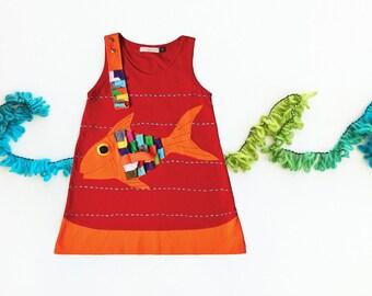 Girl's Dress, FISH Dress, Applique Dress, Blue Dress, Childrens Clothing, Applique Clothing, Resort Wear, Animal Clothing, Nautical Dress