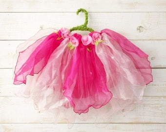 Tulip + Rose Tutu, Flower Tutu, Flower Girl, Floral Skirt, Wedding, Flower Costume, Ballet Skirt, Dancewear, Girl's Dress, Pink Tutu
