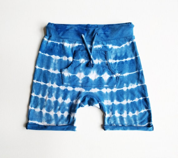 Royal Pocket Shorts, Tie Dye, Drawstring Shorts, Indigo, Indigo and White Shibori, Striped Shorts, Boho Baby, Hippie Kids, Festival Style