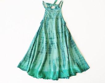 Aqua Swing Dress, Turquoise, Tie Dye Dress, Bohemian, Heirloom, Flower Girl Dress, Halter Dress, Bohemian Kids, Flower Child