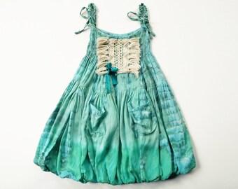 Aqua Bubble Dress, Bohemian, Boho Baby, Tie Dye Dress, Flower Girl Dress, Lace Dress, Bohemian Kids, Flower Child