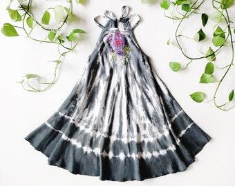 Gray Floral Swing Dress, Embroidered, Applique, Tie Dye Dress, Bohemian, Lace, Flower Girl Dress, Halter Dress, Bohemian Kids, Flower Child
