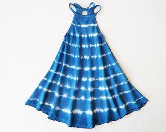 Royal Swing Dress, Shibori, Blue, Tie Dye Dress, Bohemian, Heirloom, Flower Girl Dress, Halter Dress, Bohemian Kids, Flower Child