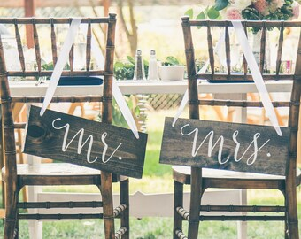 Mr and Mrs Chair Signs | Mr and Mrs Signs For Back of Chair | Mr and Mrs Wedding Table Decor | Mr and Mrs Chairs - Sophia Collection