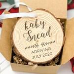 Baby announcement Christmas Ornament, Pregnancy announcement Custom Holiday Ornament