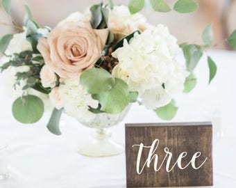 Wedding Double Sided Table Numbers, Script, Cursive Numbers, Rustic, Wood Table Numbers, Calligraphy Table Numbers - Elizabeth  Collection