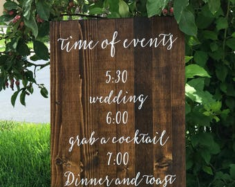 Time of Events Wedding Sign - Sophia Collection