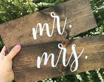 Mr & Mrs Signs,  Chair Signs, Wooden Wedding Signs - Elizabeth Collection