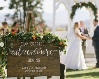 Our Greatest Adventure Begins, Adventure Themed Wedding Sign, Travel Themed Wedding Decor, Rustic Wedding Decor - Sophia collection