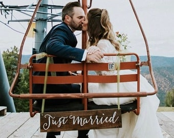 Just Married Hanging Sign | Just Married Wedding Photo Prop | Wooden Rustic Wedding Photography Sign | Ski Lift or Carriage Hanging Sign