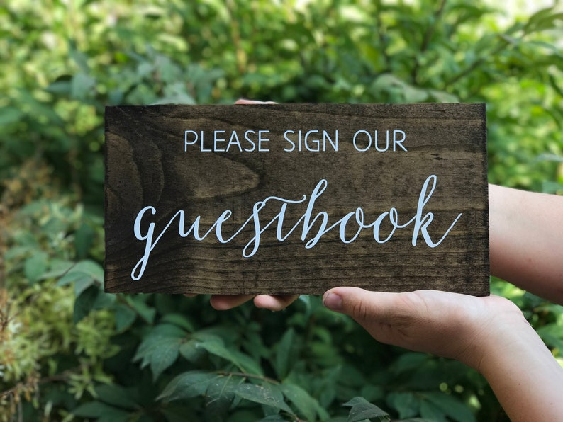 Please sign our Guestbook Sign  Wedding Guestbook sign  wood image 0