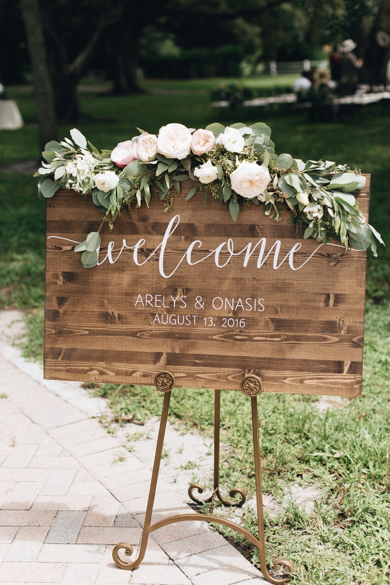 Wedding Welcome Sign  Rustic Wood Wedding Sign  Sophia image 0