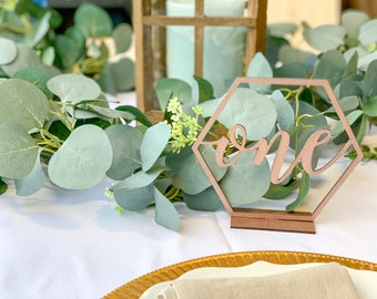 Wedding Table numbers, Gold, Hexagon Table numbers, Standing table numbers