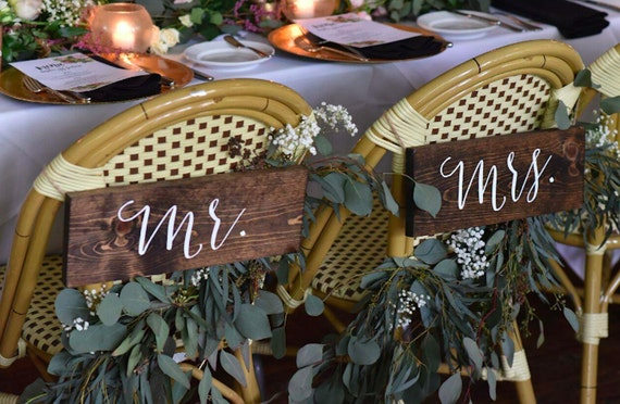 Mr and Mrs Signs Mr and Mrs Chair Signs Wooden Wedding | Etsy