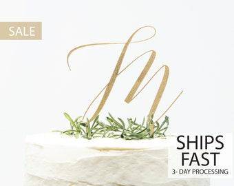 Custom Initial Cake Topper, Custom Calligraphy Wedding Initial Monogram Cake Topper Gold Personalized Cake Topper
