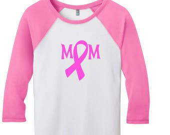 Breast Cancer Awareness | Wear Pink | Mom | Everything to Fight For | raglan shirts