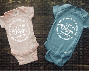 Download Free Mockups | Baby Mock Up | Infant Shirt Mockup | Pink and Blue | Shirt Mock Up | Blank Shirt Mockup | Mockup Shirt (png file) PSD Template
