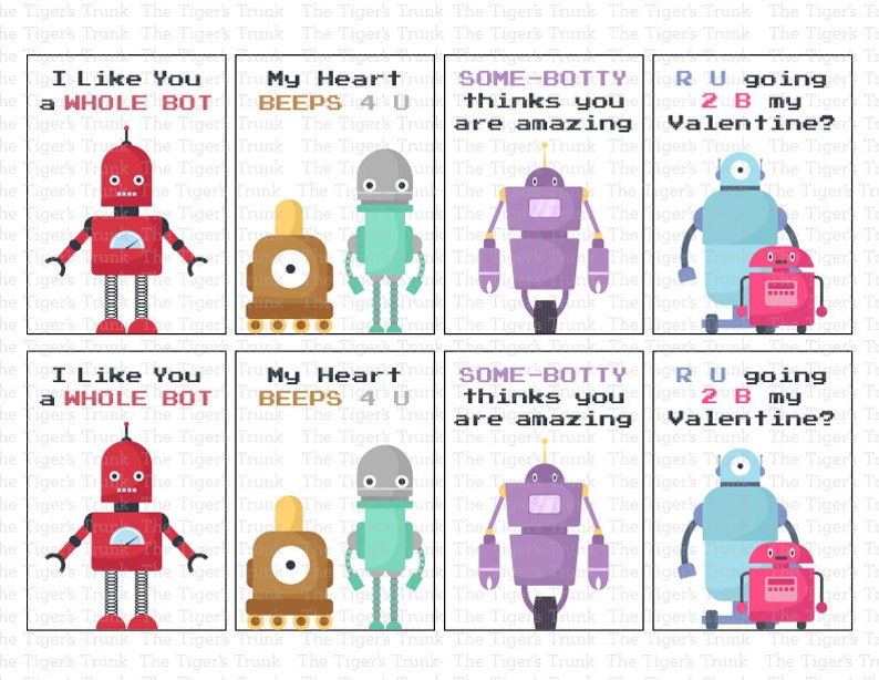 photograph regarding Printable Valentine Tag named Printable Valentine Card, Printable Valentines, Valentine Tag, Robotic Valentine playing cards (Fast Obtain)