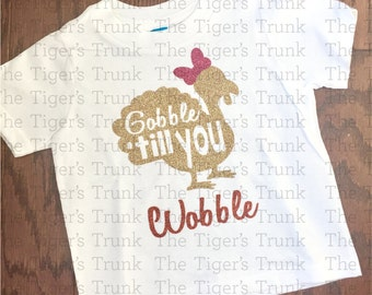 Gobble 'till You Wobble (with a bow) | Thanksgiving | Fall t-shirts and raglan shirts