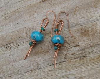 Blue Green Teal Aqua Lampwork Glass Copper Dangle Earthy Earrings Hand Forged Wire Womens Jewelry
