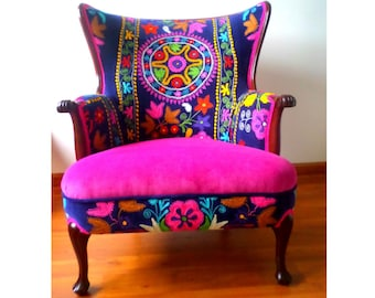 """Made to Order - Vintage Arm chair wing back. Multicolor. Seat and back  - Blends well with your Decor! """"La Bohemia"""""""