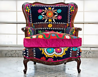 """SOLD Stunning Vintage Arm chair wing back - Blue velvet Multicolor embroidery. Blends well with your otomi Decor! """"La Bohemia II"""""""
