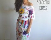 Long Bohemian chic otomi dress Tunic Otomi Mexican wedding dress long dress Plus size dress multicolor hand embroidered by otomi women